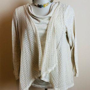 Scoop Neck L/S Oatmeal Colored Vest Top Size XL